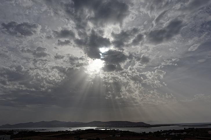 sunbeam, clouds, rays, dark clouds, mood, light, nature