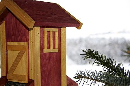 Птицеферма, зимни, сняг, птица фидер, птица, зависи от, емисия