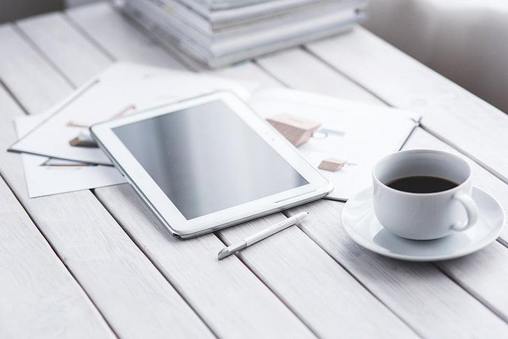 tableta, digitalni, tehnologija, dela, kava, bela, minimalistično
