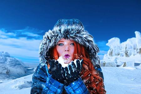 winter, woman, female, model, cold, redhead, girl