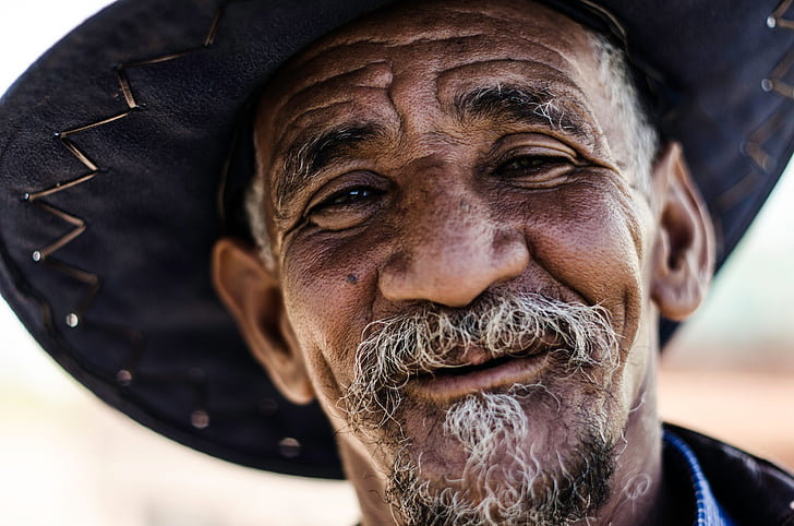 aged, beard, happy, hat, man, old, person