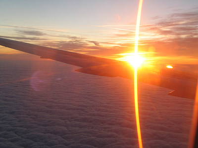 sončni vzhod, letalo, okno letala, ki plujejo pod, curki, krila, nebo