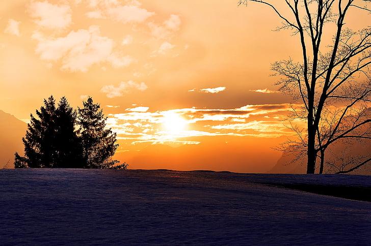 nascer do sol, Inverno, perspectivas, paisagem, céu, Skies, morgenstimmung