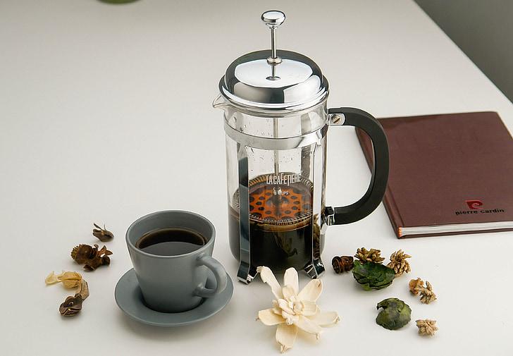 Indoor, thee, Beker, stempelen van pot, roestvrij staal, glas, Stilleven