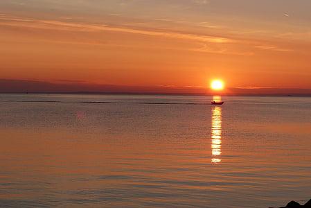 posta de sol, torna la llum, taronja, bota, reflectint, sol, nit
