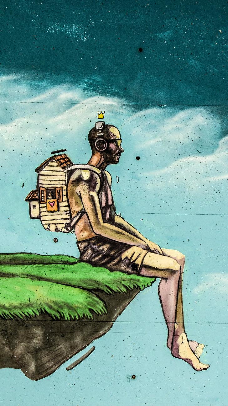 graffiti, home, fantasia, somni, persones, il·lustració