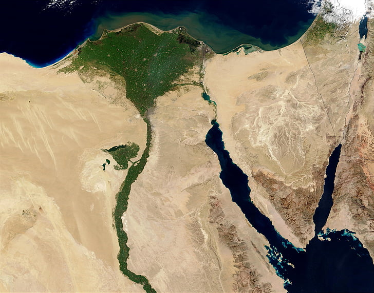 egypt, nile, aerial view, land, map, atlas