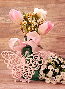 tulipes, Ranunculus, papallona, Gerro, flors, Gerro, flors de primavera