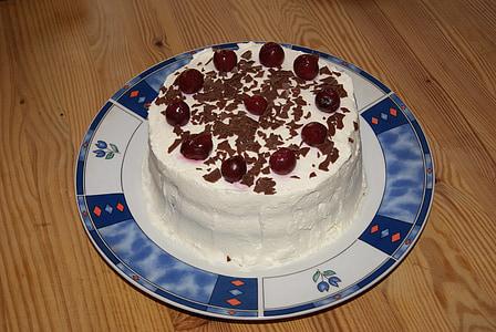 pastís, amb, crema, adorn, pastissos de nata, calories, cafè