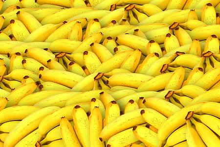 plàtans, fruita, groc, Sa, fruita fresca, tropical, Orgànica