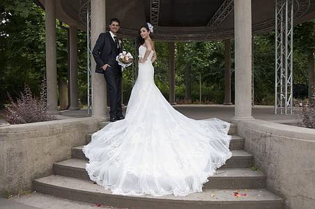 婚礼, 梦幻情侣, 男子, 女人, 之前, 穿衣服, 婚纱礼服