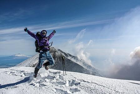 winter, mountains, snow, landscape, jump, man, stick