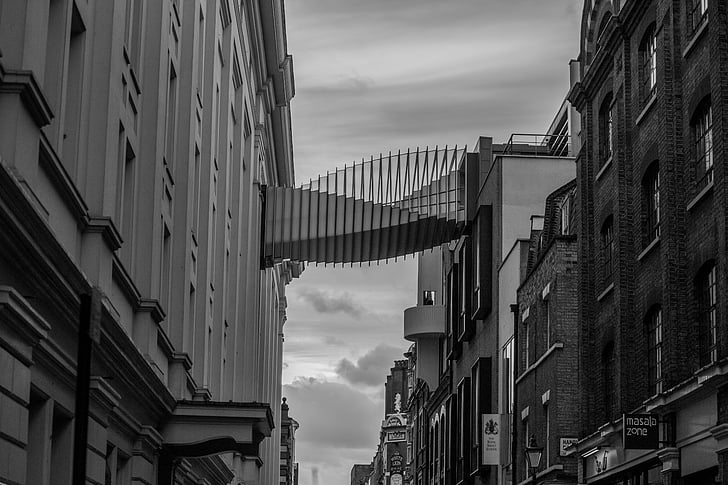 architecture, black-and-white, bridge, buildings, modern, black And White, urban Scene