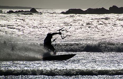 kitesurfing, kitesurfare, kitesurfing, Surfer, Vindsurfing, Surf, surfing