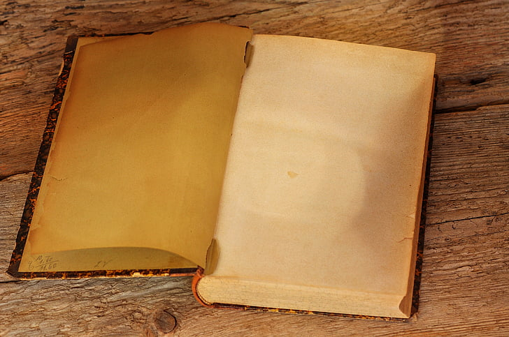 book, old, antique, pages, empty pages, book pages, wooden table