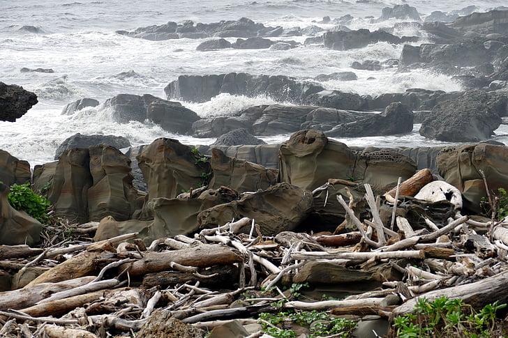 Sea, rannikul, Rock, Beach, Ocean, laine, Taiwan