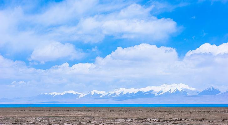 o lago sagrado, montanha de neve, nuvem branca, natureza, montanha, paisagem, deserto