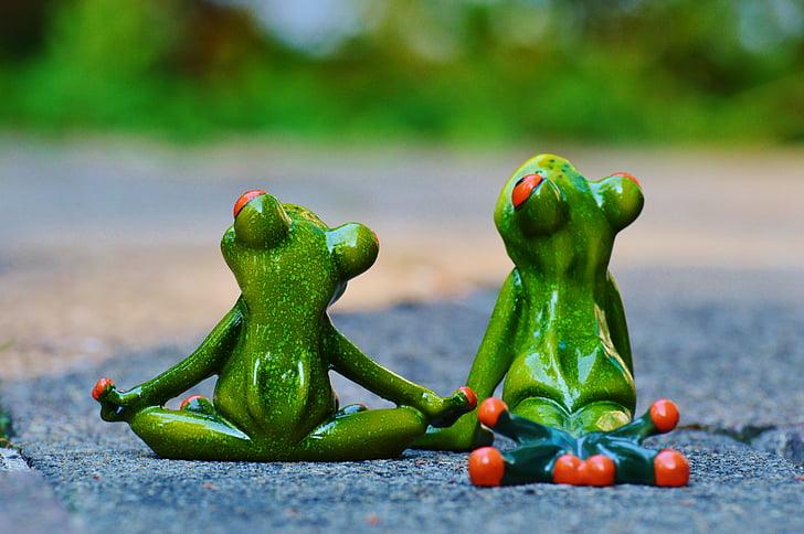 Ioga, granotes, relaxat, figures, divertit, resta, relaxació