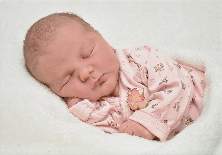 baby, birth, pink, newborn, girl, blanket, romper