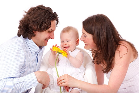bebé, niño, hija, familia, feliz, amor, padres