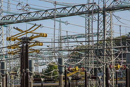 substation, electricity, current, high voltage, transformer, power generation, strommast