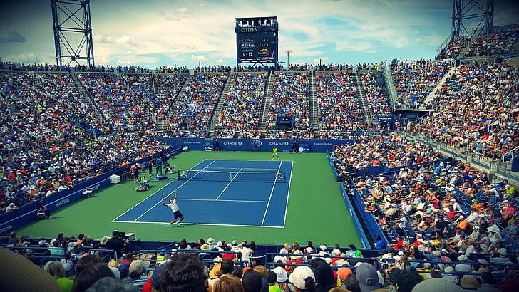 atletes, audiència, competència, cort, multitud, ventiladors, joc