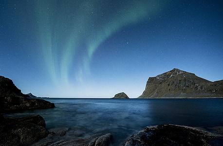 Polárna žiara, Lofoten, Nórsko, noc, Beach, Costa, zimné