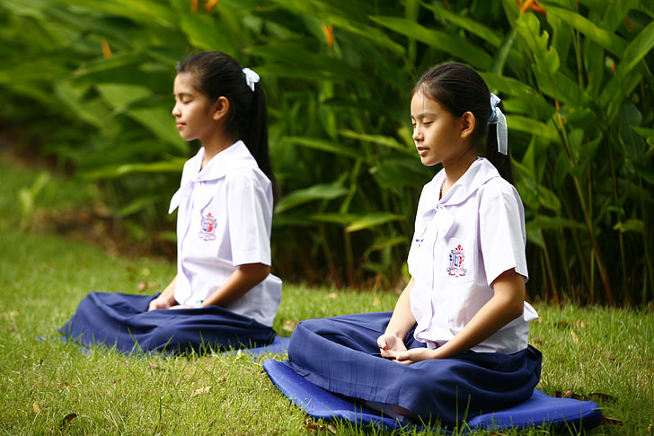 dievčatá, budhizmus, Meditácia, krajčír sedadla, budhistické, meditovať, Wat