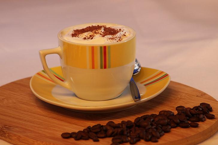 Cup, kaffe, cappuccino, kaffekopp, drikke, skum, Hot