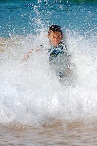 πιτσίλισμα, κύμα, συντριβή, παραλία, Αγόρι, surf, Άμμος