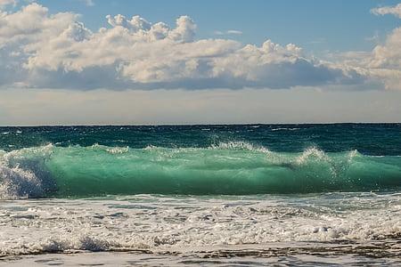 bølge, Smashing, sjøen, kysten, natur, stranden, blå