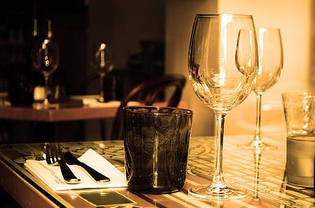taula, Restaurant, mobles, vidre, vi, beguda, coberts