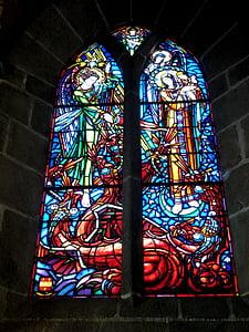 l'església, Vitrall, vidrieres, Mont Sant michel, França