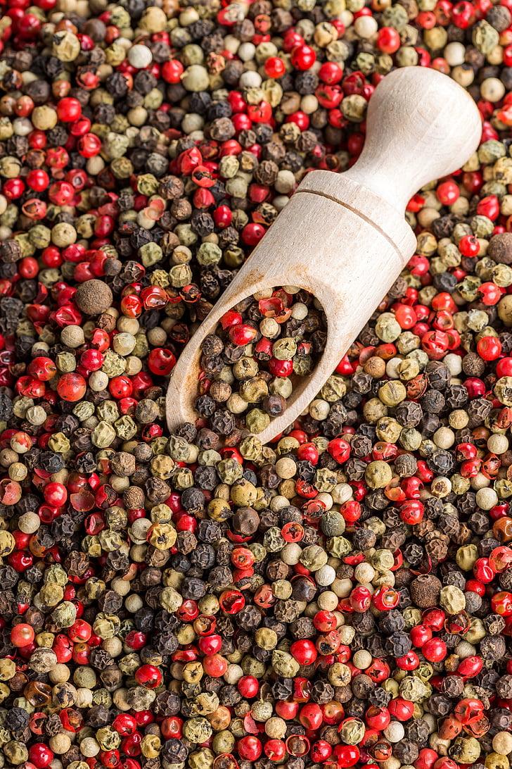 pimenta, pimenta de sino, mistura de pimenta, pimenta vermelha, tempero, especiarias, comida