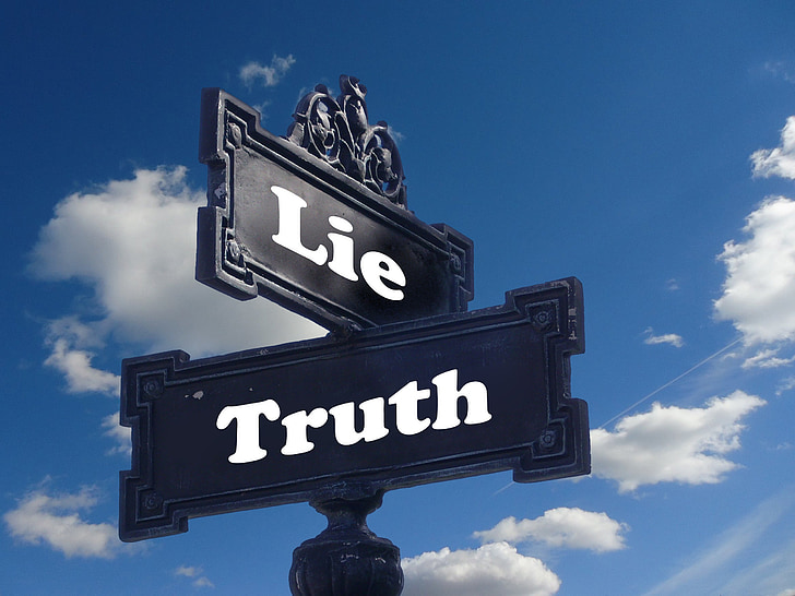 truth, lie, street sign, contrast, contrary, note, direction