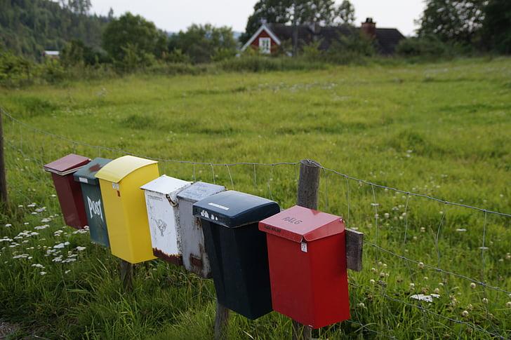 почтовые ящики, почтовый ящик, Поместить, красочные, идиллический, Швеция, Одиночество