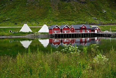 Norge, Norra Kapprovinsen, fjorden, tält, Lappland, naturen, sjön