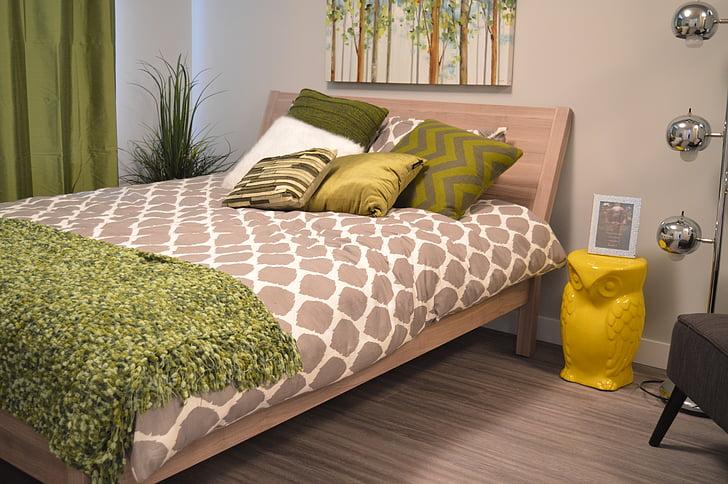 dormitori, llit, coixins, capçalera, casa, casa, interior