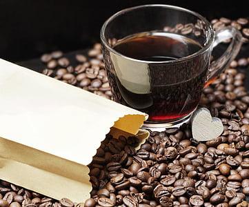 grains de café, tasse à café, Coupe, café, plaisir, haricots, caféine