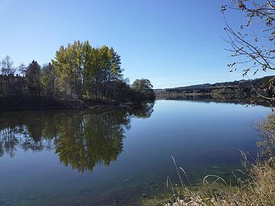 River, vesillä, rauhaa hiljaisuutta, sujuvasti kuten lasi, lampi
