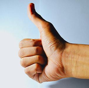 polze cap amunt, millor, polze, mà, bona, èxit, signe