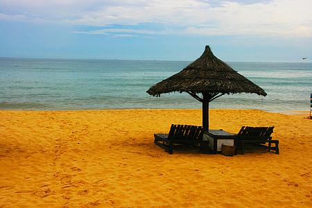 plajă, şezlong, nisip, mare, vacanta, vara, ocean
