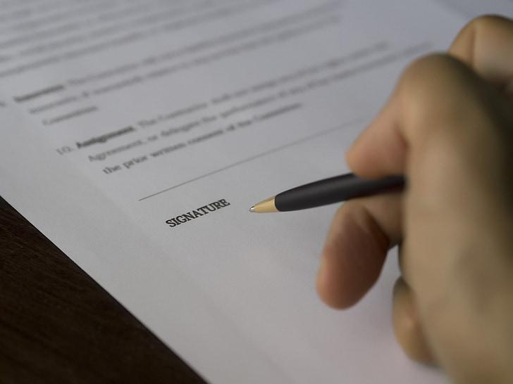 negoci, signatura, contracte, document, quantitat, paperassa, mà