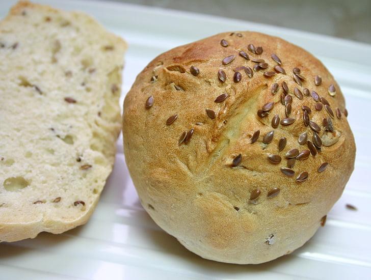 roll, hørfrø, korn brød, bagværk, sprød, bagt, snack