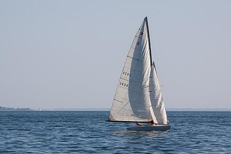 segelbåt, vattensporter, sjön, Boot, vatten, segel, fartyg