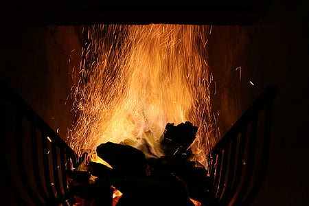 flama, foguera, foguera, foc, brases, fusta, cremar