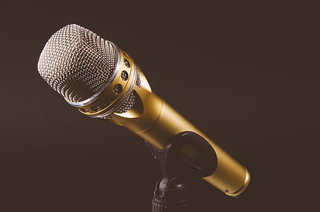 gold, colored, studio, microphone, black, stand, audio
