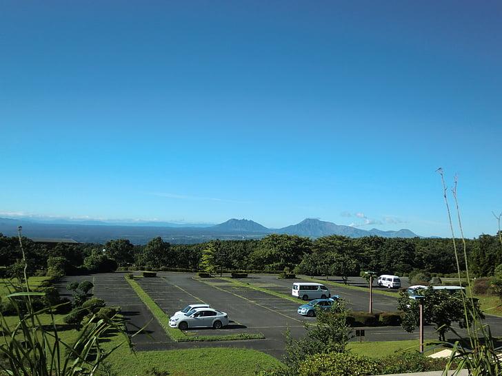 Japó, viatge, lot d'estacionament, aparcament, cel, paisatge