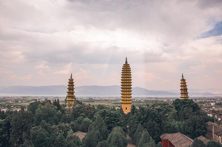 u provinciji Yunnan, tri pagode, svjetlo, pagoda, Budizam, Azija, arhitektura