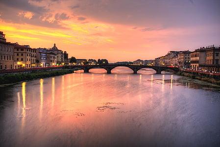 puente, puesta de sol, salida del sol, cielo, ciudad, Río, agua